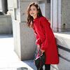 红色连衣裙女秋冬配大衣的长裙子法国小众打底针织过膝毛衣裙春装