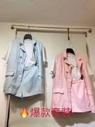 欧洲站2021夏季新休闲时尚洋气套装女设计感棉麻西装马甲两件套潮