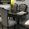 美式新古典餐桌椅组合椭圆形6人4人实木家用简约欧式奢华餐桌家具