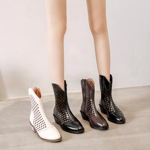夏季薄款马丁靴女春秋单靴2021尖头网靴英伦风凉靴透气短靴女