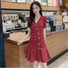 遮肚连衣裙女2021夏气质洋气女神范碎花波点超仙短袖红色裙子