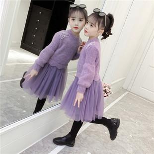 女童连衣裙秋冬装加绒毛衣裙超洋气公主裙小女孩冬裙儿童裙子