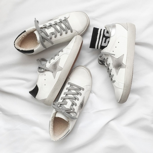 2019 Ulzzang 冬 加绒保暖运动鞋棉鞋女鞋银色平底小白鞋脏脏鞋新