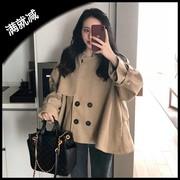 秋冬女装2018时尚chic宽松中长款斗篷型复古长袖毛呢外套