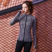 薄款运动外套女2018拉链开衫速干跑步瑜伽长袖上衣健身服