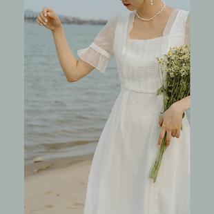 21夏新法式桔梗初恋温柔茶歇超仙女气质甜美显瘦连衣裙订婚轻婚纱
