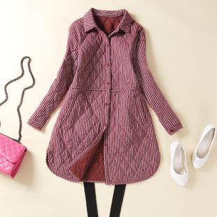 条纹加棉衬衫女长袖中长款大板型宽松加厚保暖棉外套