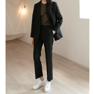 西装套装女2019春秋职业西服套装小西装外套九分裤两件套