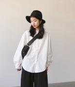 单排扣小圆领日系文艺复古风灯笼袖黑白棉麻长袖衬衫女