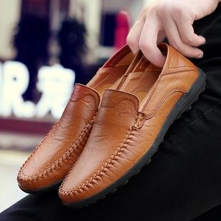 2018品牌男鞋真皮豆豆鞋男士鞋英伦皮鞋透气懒人鞋子