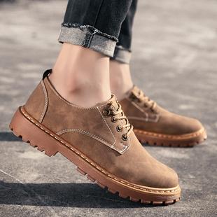 春款男装青年鞋黄色棕色皮鞋工作上班防滑工装马丁鞋低帮男鞋