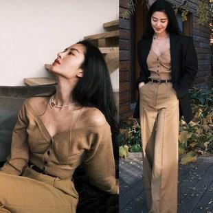 明星杨采钰同款毛衣女洋气短款针织开衫黑色西装外套阔腿裤长裤子