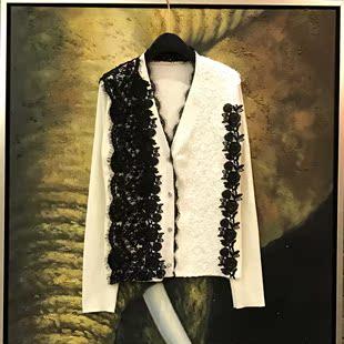日系针织外套女秋薄款V领水溶花蕾丝拼接高端女装短款小开衫