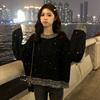 2018秋冬女装慵懒风宽松闪光撞色网红套头毛衣针织衫外套