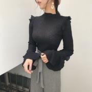 2018荷叶甜美chic弹力秋装复古袖圆领气质百搭上衣女
