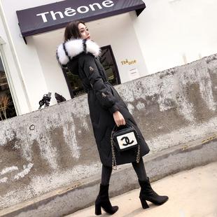 冬装2018羽绒服女中长款过膝时尚大毛领收腰加厚外套显瘦