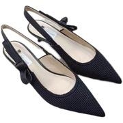撤柜时尚尖头夏季女鞋舒适中跟细跟套脚浅口防滑底时装凉鞋女