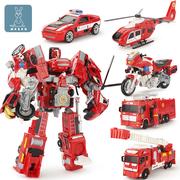 合金版变形机器人儿童玩具模型男孩警车飞机消防车合体汽车人金刚