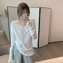 白色打底衫女秋冬2020韩版百搭宽松长袖T恤圆领内搭体恤上衣