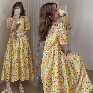 孕妇夏装时尚外穿小清新碎花裙子大码夏网红同款洋气夏天连衣裙潮