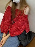 红色格子衬衫女设计感小众长袖衬衣夏季甜辣风一字肩法式别致上衣