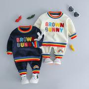 0婴幼儿童装秋冬装1岁男童加绒加厚运动套装帅气2宝宝加厚卫衣服3