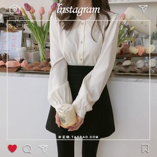 白色雪纺衬衫女2019早春港味复古长袖百搭娃娃领蕾丝边打底衫