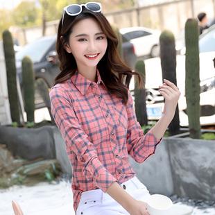 佰色鸟2019春装纯棉百搭显瘦格子衬衫女长袖大码衬衣