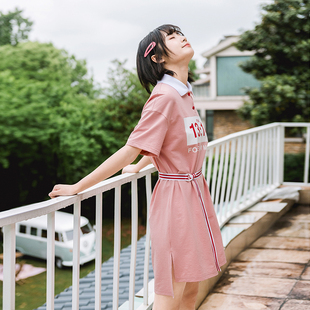 布衣酱2019夏季百搭小清新学院风格子粉色显瘦短袖学生连衣裙