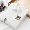 春秋小清新刺绣白衬衫女装长袖职业打底衬衣百搭纯棉学生