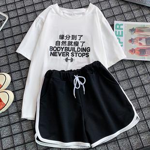 胖MM大码女装夏2021宽松短裤休闲时尚两件套跑步服运动套装女