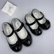 斯乃纳童鞋2021春款1120263女童时尚表演黑皮鞋舒适公主