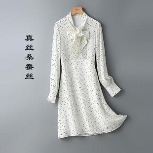 闭眼入!!错过后悔~桑蚕丝真丝双绉 减龄波点连衣裙女夏 LY5654