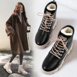 马丁靴保暖冬季2018风时尚女鞋青年百搭防滑板鞋平底女鞋