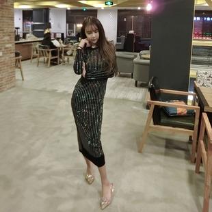 长袖连衣裙长裙冬季欧美时尚重工烫钻包臀显瘦圆领打底裙