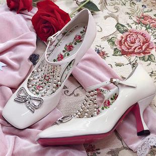 小梅家真皮珍珠奢华欧美大牌水钻蝴蝶结单鞋高跟方头复古公主女