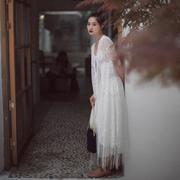 【新年购2件7折区】棉麻记2020复古文艺开衫宽松中长款蕾丝长衫女