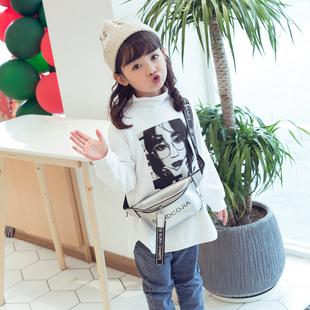 儿童白色打底衫加绒高领女童洋气字母印花长袖宝宝磨毛中长款t恤
