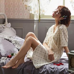 日式和服睡裙女夏季薄款梭织纯棉白色仙女学生ins性感睡衣连衣裙