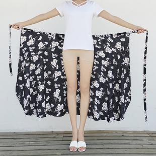 泰国度假半身裙女2019春夏海边沙滩裙一片式裹裙雪纺碎花长裙