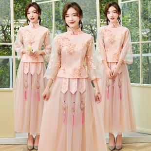 伊莎贝尔伴娘礼服2020女中式中国风创意复古姐妹团裙遮肉秋冬