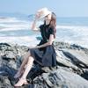 2019夏季女装复古赫本小黑裙海边度假学院风娃娃领刺绣连衣裙