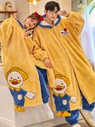 2021秋冬季睡衣卡通情侣睡袍珊瑚绒加厚女保暖可爱连帽男士两件套