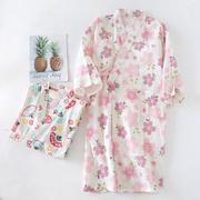 日式和服睡袍女纯棉纱布睡衣和风樱花浴袍汗蒸家居服春夏薄款浴衣