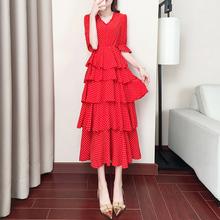 2019夏天装流行蛋糕裙子仙女超仙森系甜美波点雪纺红色连衣裙