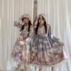 森女系sankousan原创天使玫瑰园lolita反光长袖op日系连衣裙
