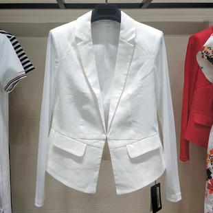 哥弟女装2021年春夏装亚麻白色西服小西装外套女上衣