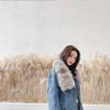 牛仔外套女冬季宽松超大貉子毛领法兰绒棉服加厚派克服