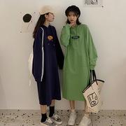 韩版宽松显瘦卫衣2021秋季百搭字母印花过膝长款连帽长衫裙女