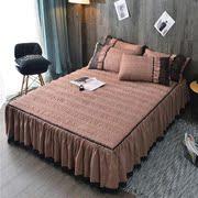 家纺夹棉床裙单件斜条纹蕾丝床罩加棉加厚保暖秋冬床罩三件套